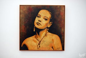 "Stages - Shepard Fairey ""Jessica"" Mixed media stencil collage on canvas (...)"