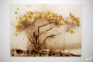 "Stages - Cai Guo-Qiang ""Tree With Yellow Blossoms"" Gunpowder on paper, (...)"