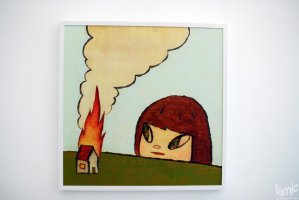 "Stages - Yoshitomo Nara ""Fire"" Acrylic on wood panel, 90cm x 90cm. © (...)"